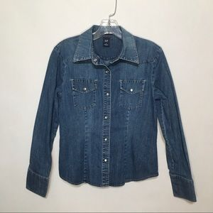 Gap western style denim pearl snap button shirt